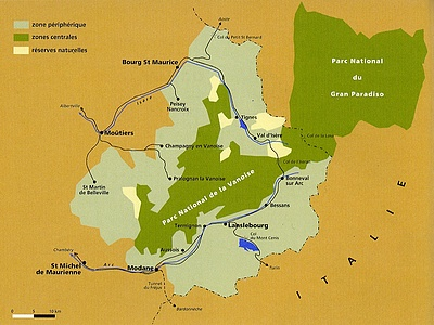 Carte du parc national de la Vanoise