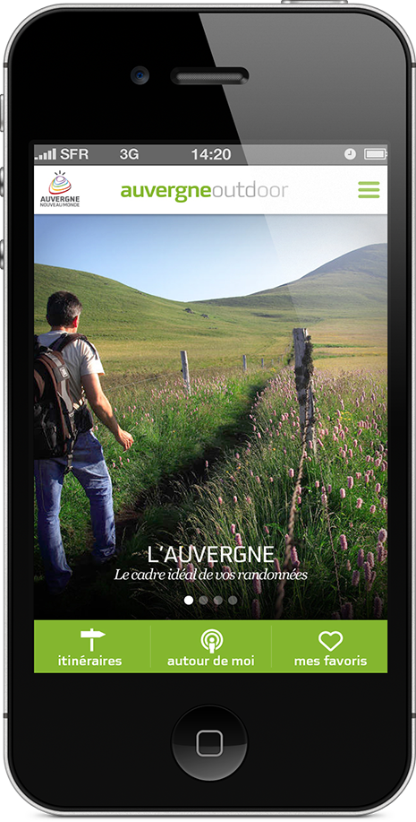 Auvergne Outdoor, l'application mobile IOS et Androïd