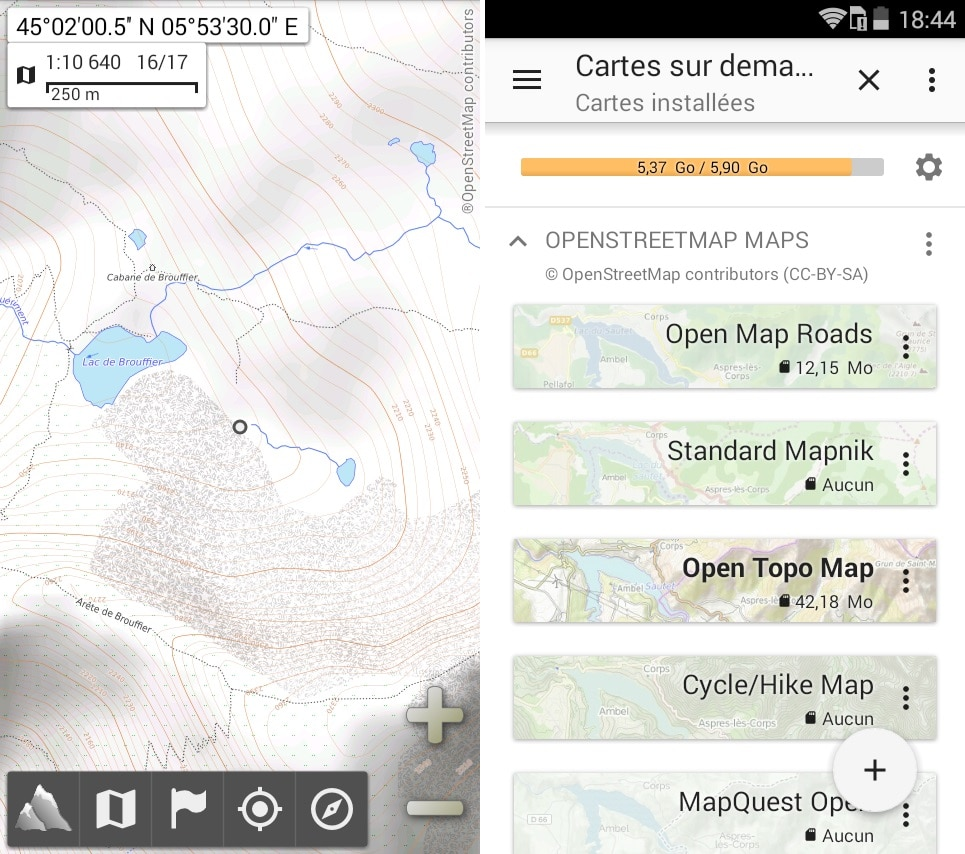 Application GPS AlpineQuest